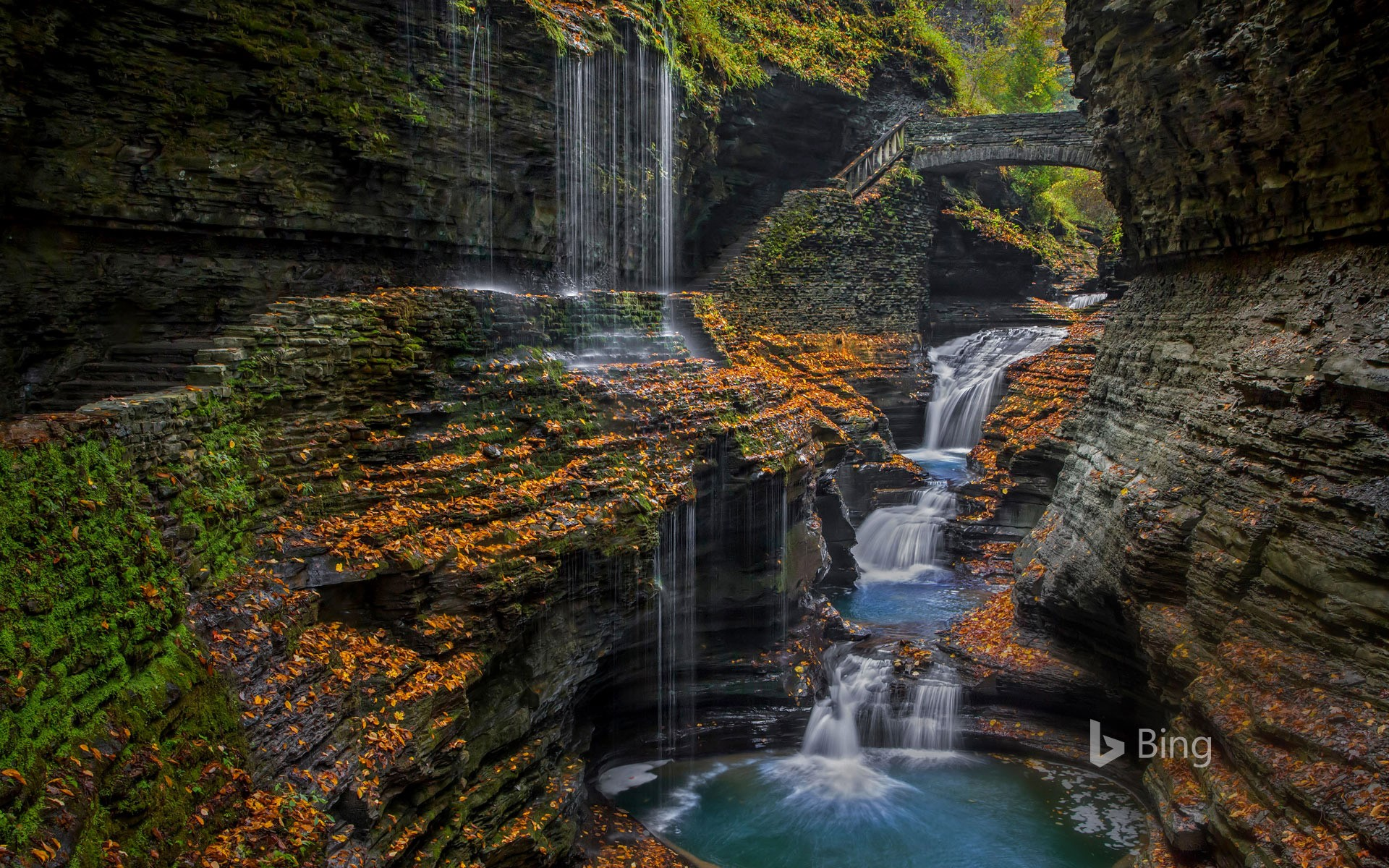 Watkins Glen State Park's Rainbow Falls in the Finger Lakes region of upstate New York