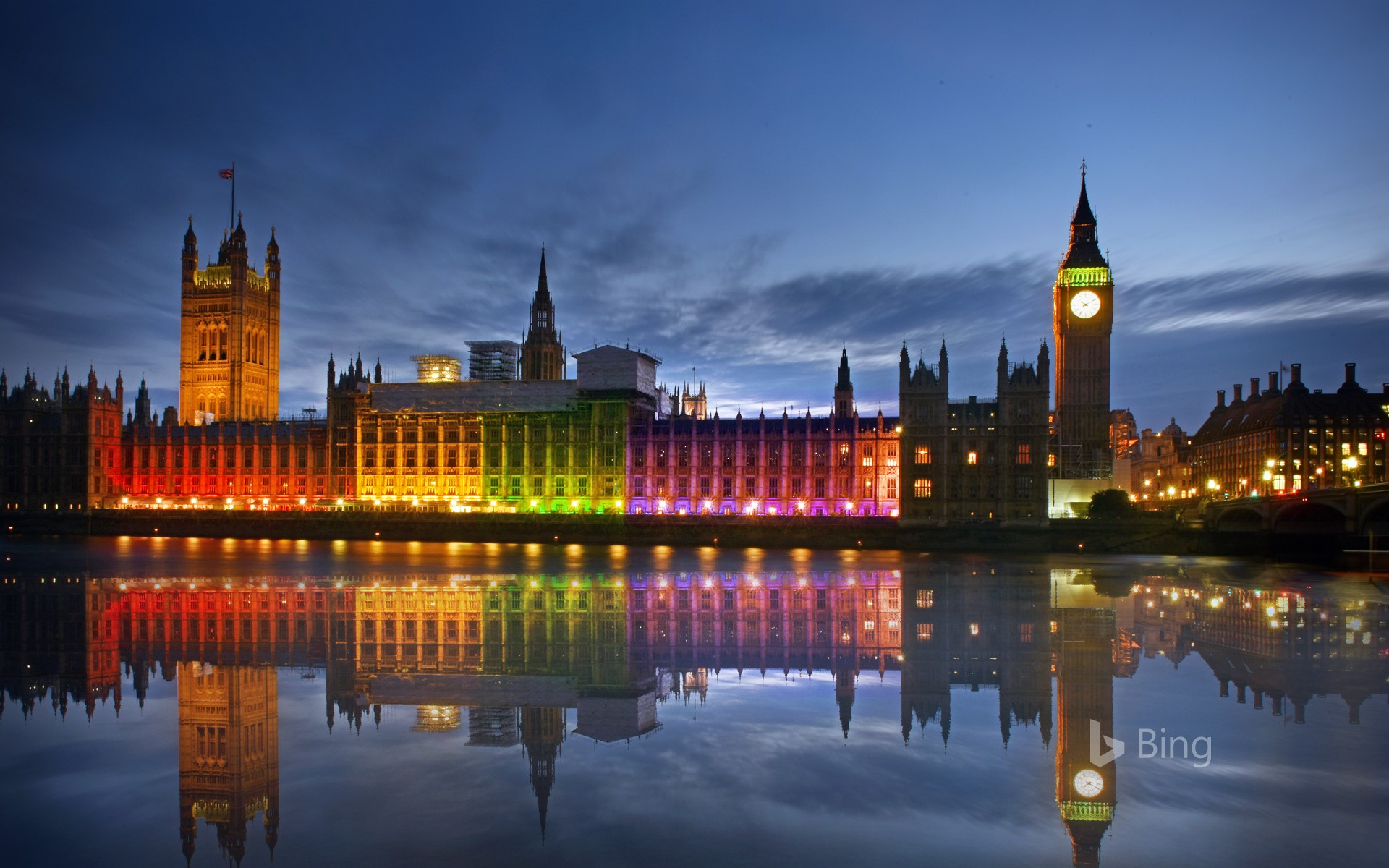 The Palace of Westminster illuminated in rainbow colours for Pride in London in 2017