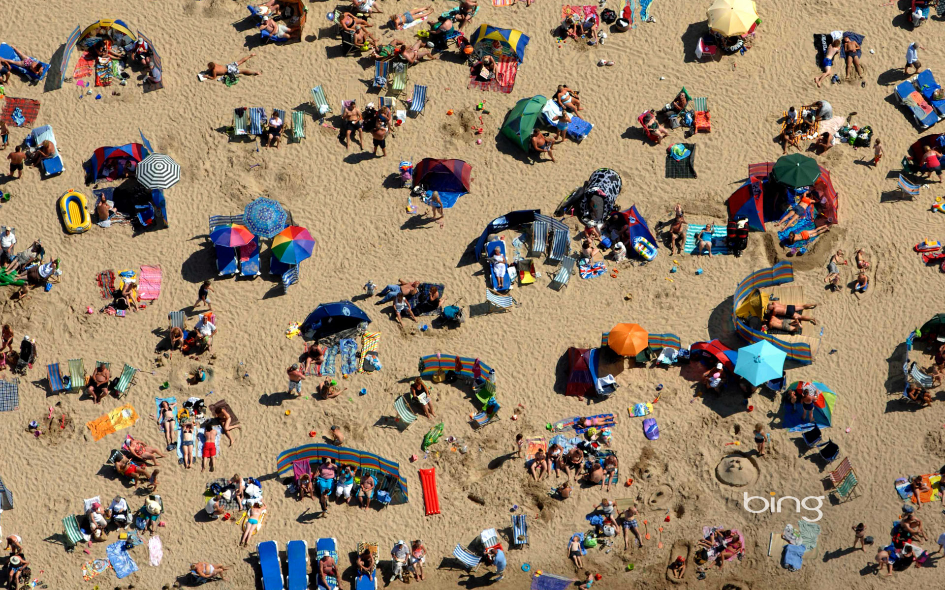 Crowds at Weymouth Beach in Dorset, England