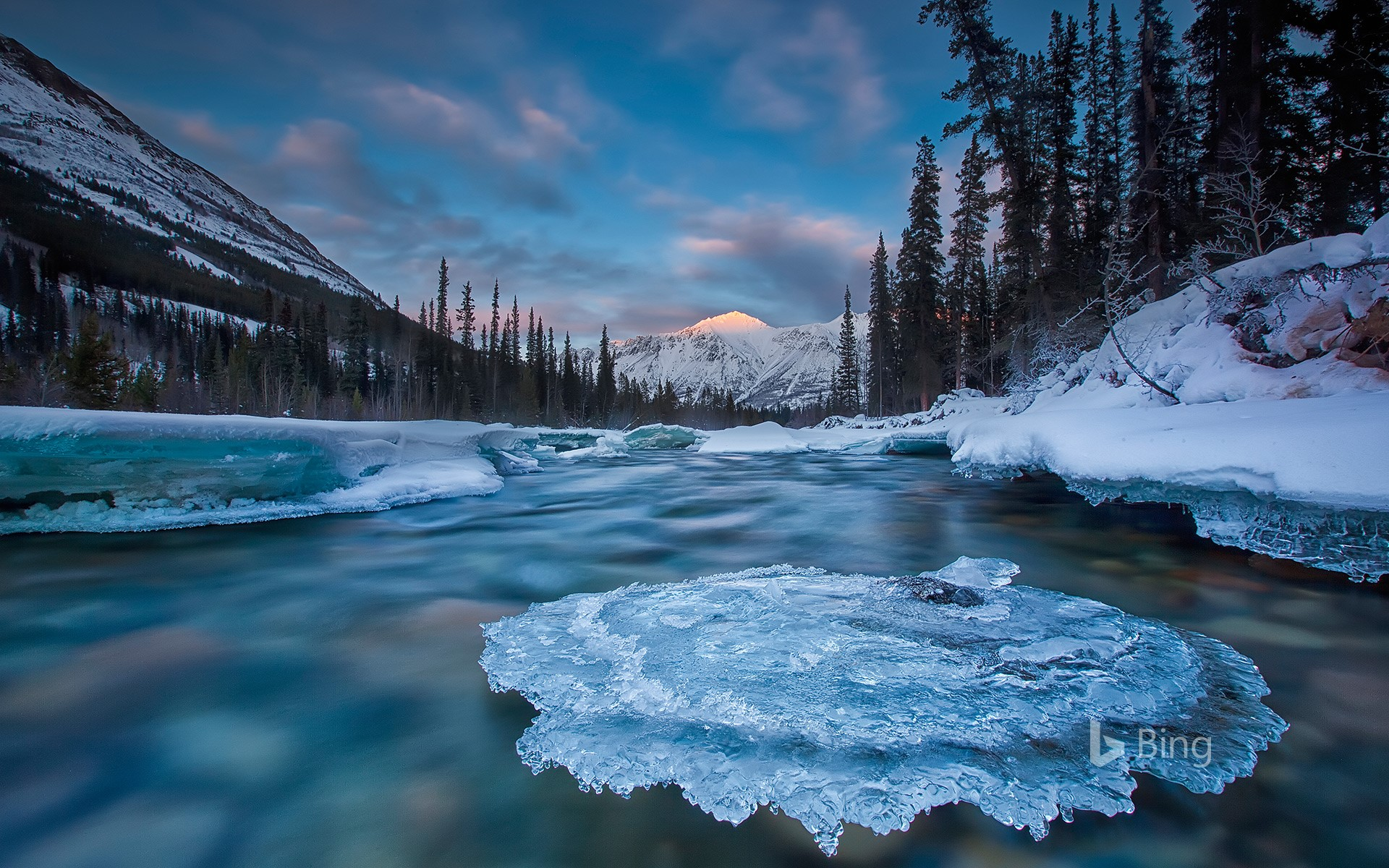 Ice-covered rock in Wheaton River, Yukon, Canada