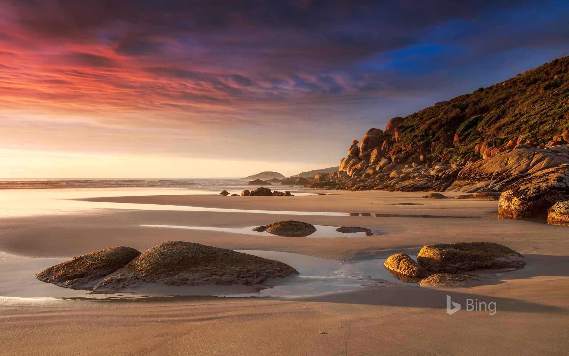 Beach in the evening light at Whisky Bay, Wilsons Promontory National Park, Victoria, Australia