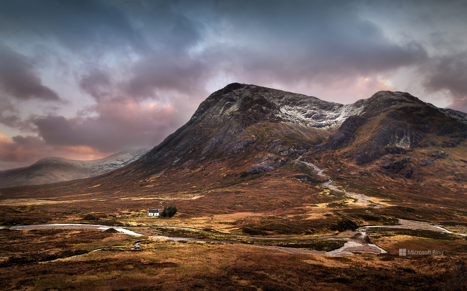The Lagangarbh hut nestles in the valley beneath Buachaille Etive Mòr, Glencoe