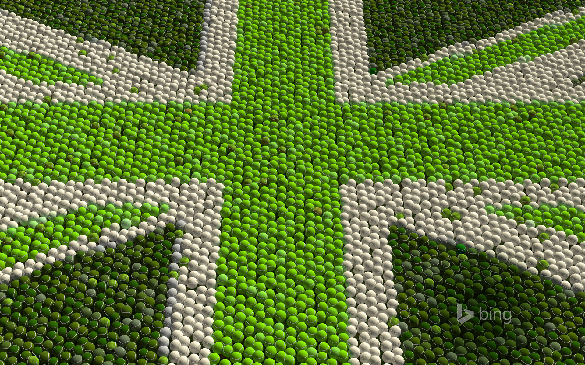 Great Britain Flag made up of green tennis balls