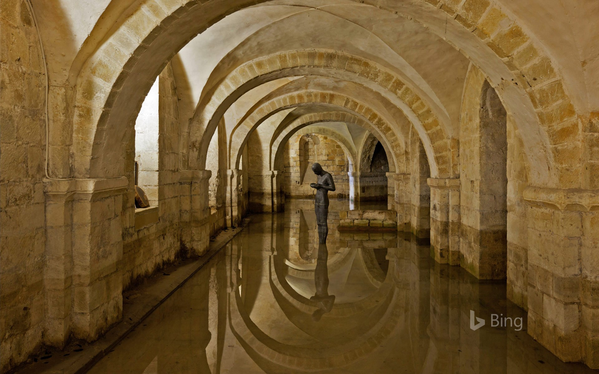 The flooded crypt at Winchester Cathedral, Hampshire