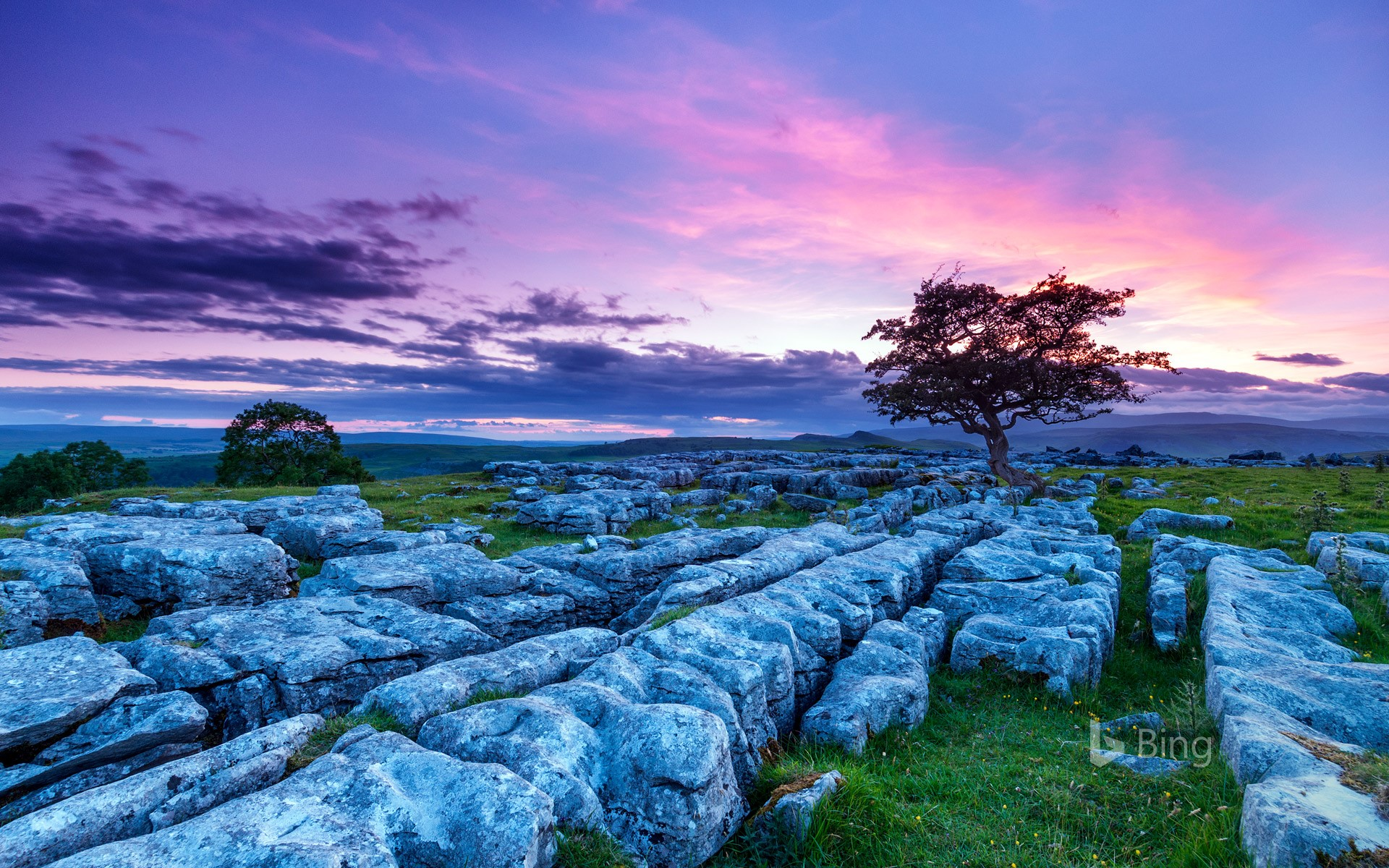 Sunset over Winskill Stones in the Yorkshire Dales National Park, England