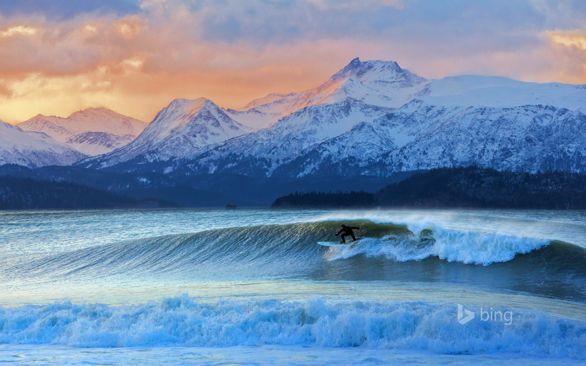 Don 'Iceman' McNamara surfing in Kachemak Bay, Alaska