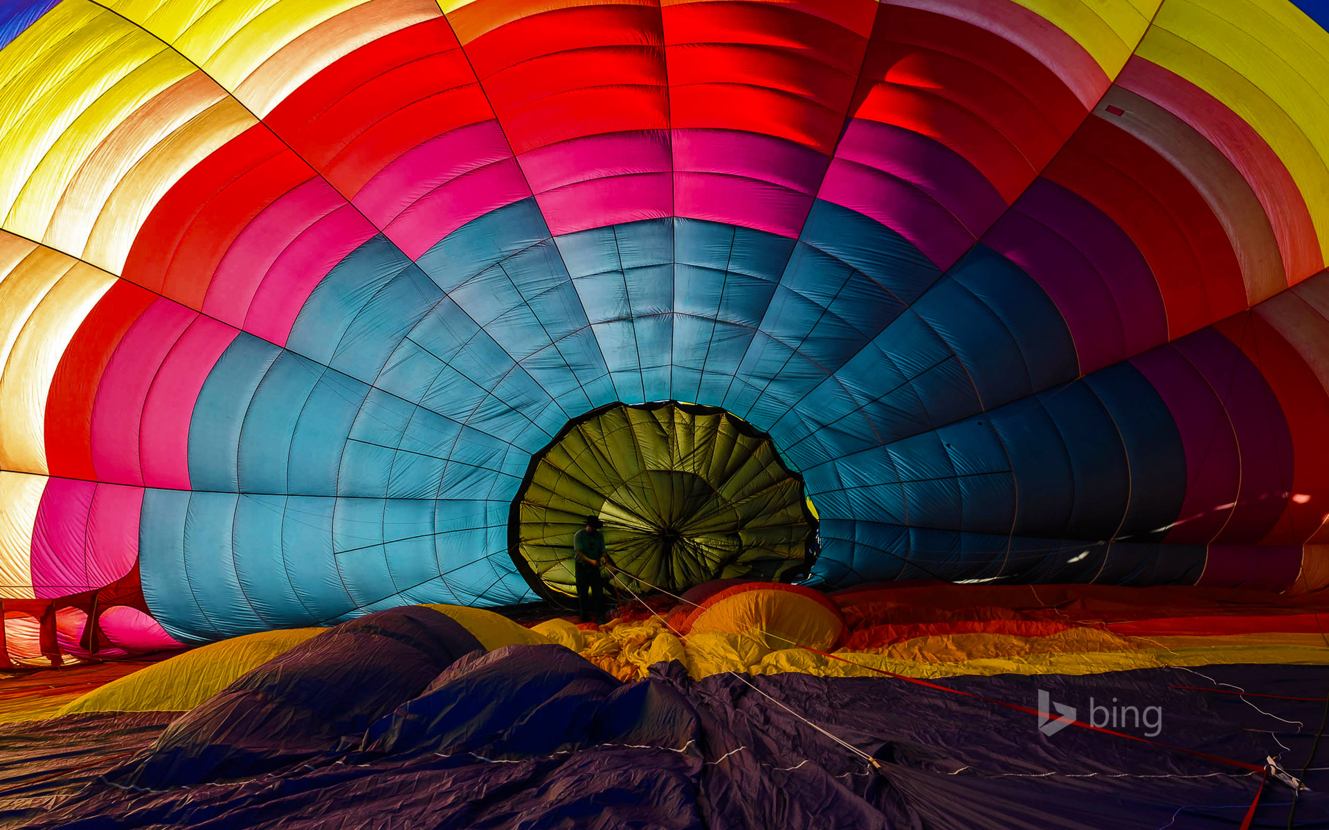 Hot air balloon inflating for the Winthrop Balloon Festival in Washington State