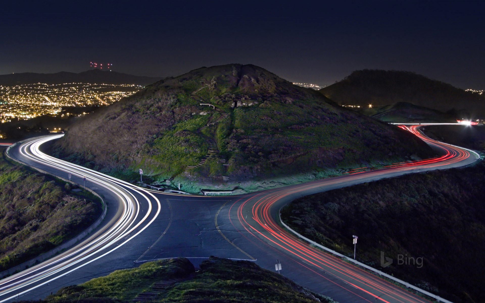 Christmas Tree Road and the hills of Twin Peaks, San Francisco, California