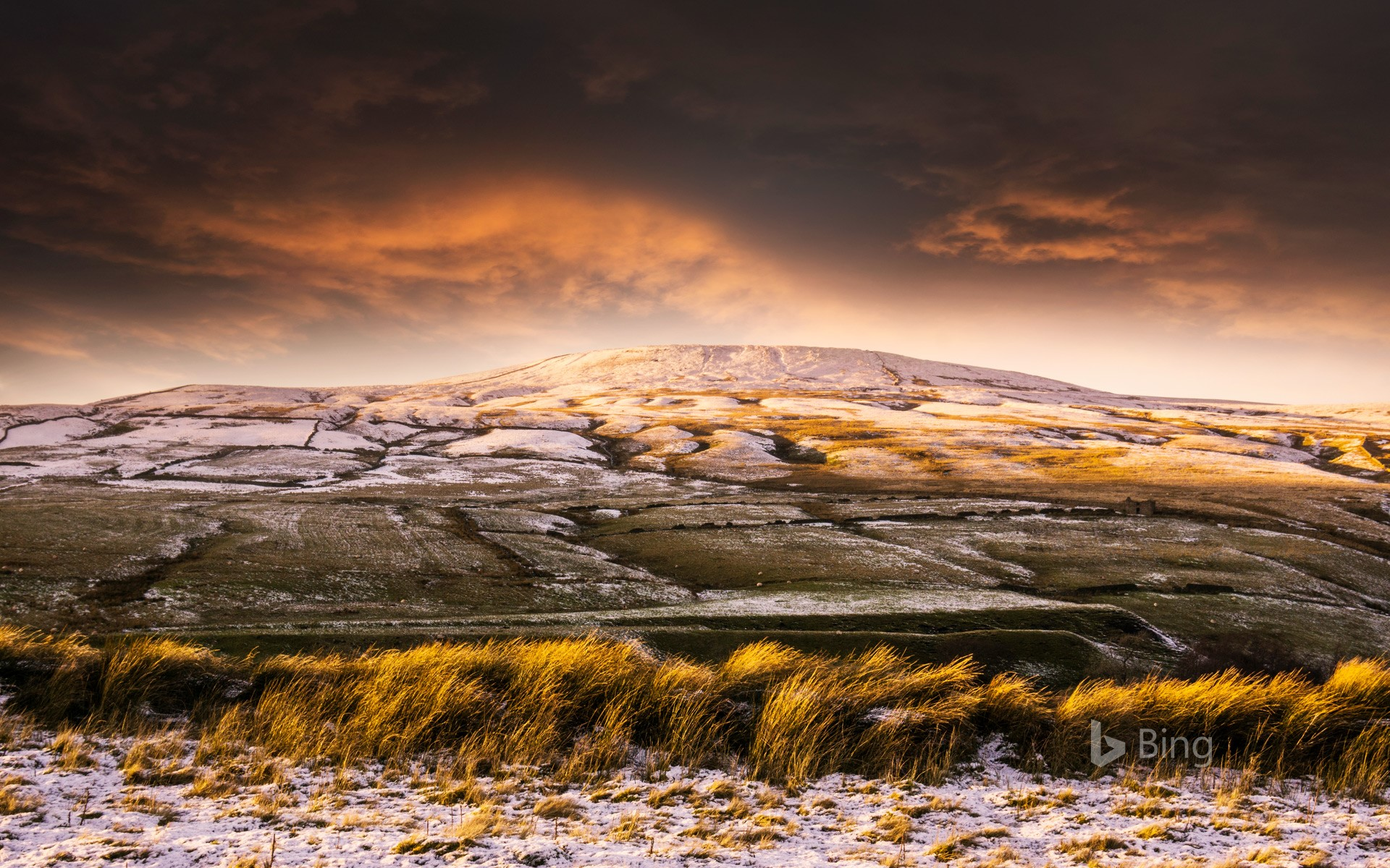 Low winter sunlight and frost in the Yorkshire Dales