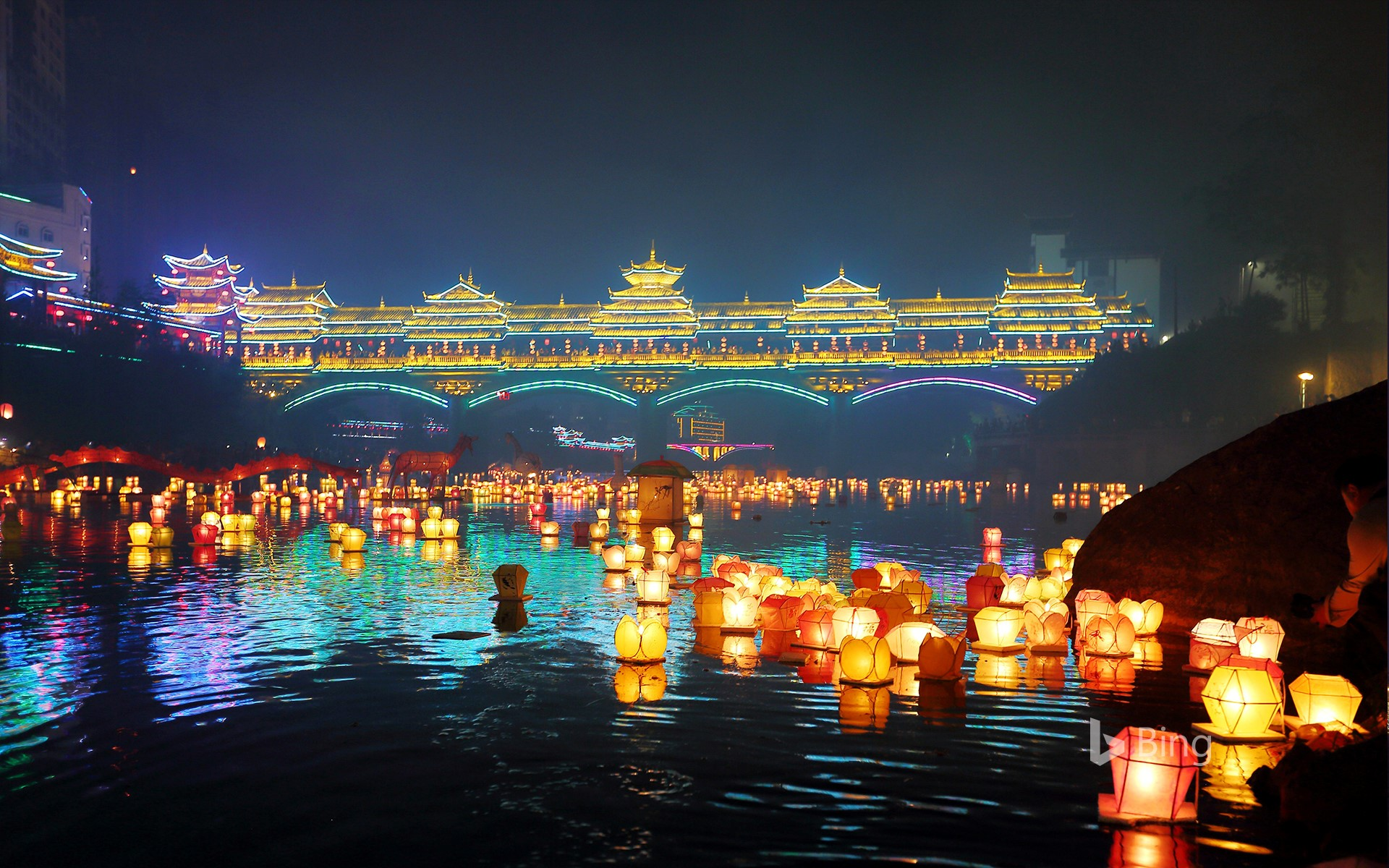 [Today's Chinese New Year Festival] Guilin Chinese New Year Festival Wanzhan River Lights Floating Event, Guangxi, China