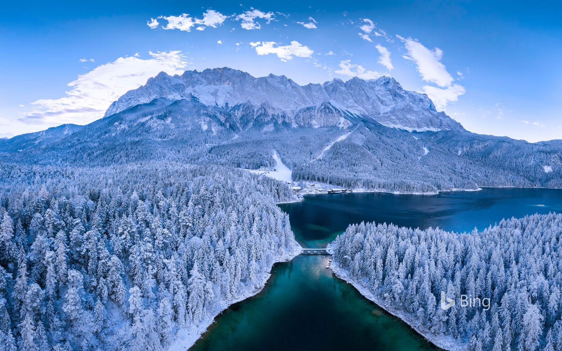 Eibsee, a lake at the base of Zugspitze, Bavaria, Germany